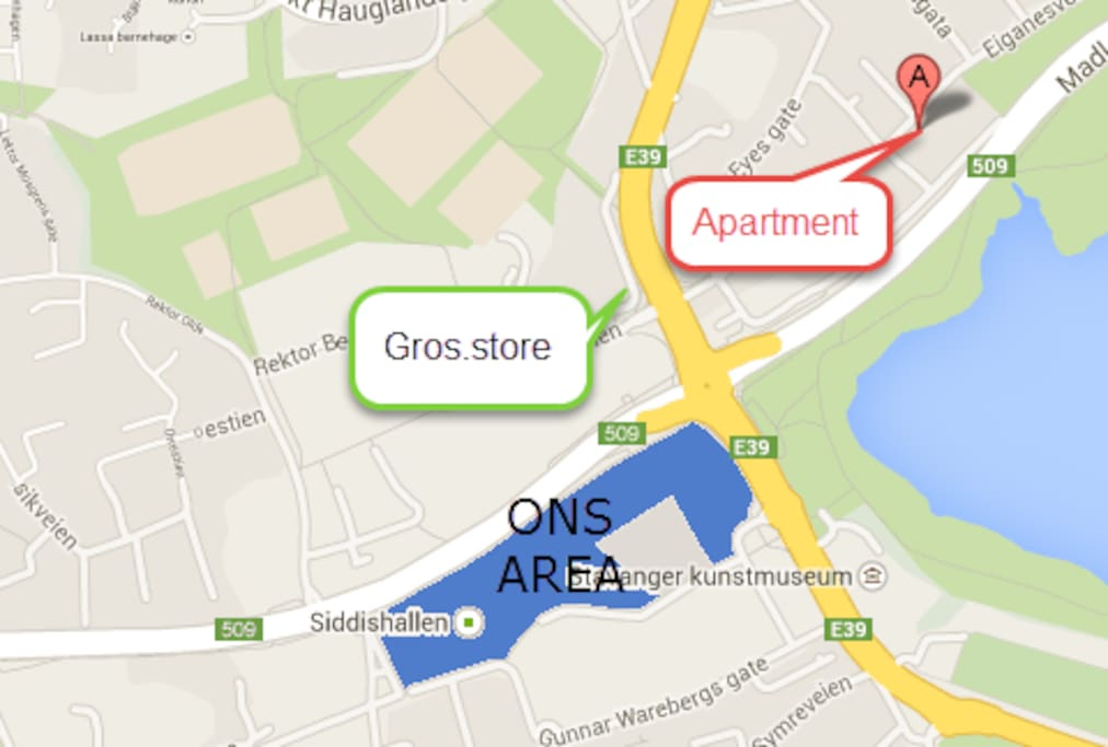 Map over ONS fair and apartment