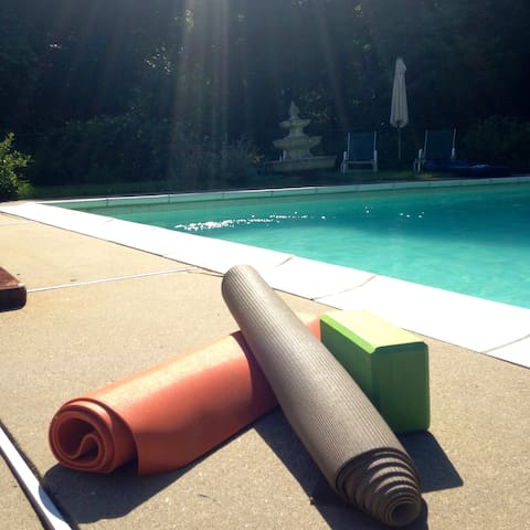 Sometimes we do yoga by the pool. You are welcome to bring your mat for your trip and use any part of the property.