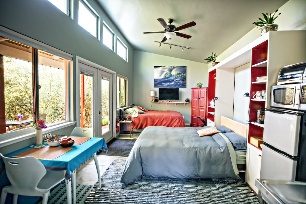 """The building bright and airy.  Many of our Guests have commented on its """"great energy"""" and """"positive vibe.""""  And the feeling that you are """"away in the country.""""  It is a loft with high ceilings and a ceiling fan."""