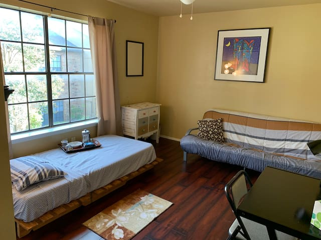 Your room features both a twin bed and a queen sofa bed.