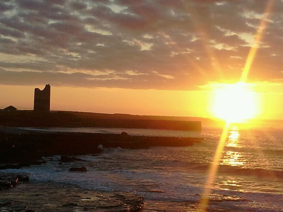 Sunset in Easkey with Roslea Castle