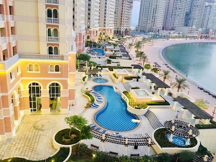 Experience the pearl qatar 1 bedroom  viva bahria