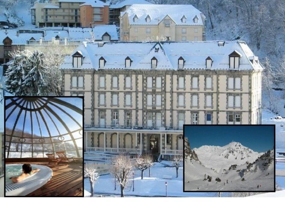 Vue d'hiver : Résidence de standing HELIOS proche des thermes (dont l'espace thermoludique) et de la plus grande station de ski des Pyrénées Françaises (Ski Bus au pied de l'immeuble et retour à ski possible jusqu'à l'immeuble)