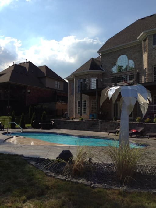 Pool, tanning ledge, Fire pit in the background.