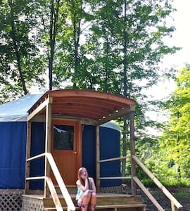 Navy Yurt set in Nature in Upstate NY