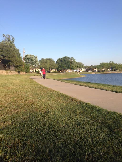 Walking trail behind our house! It leads to a park and duck pond.