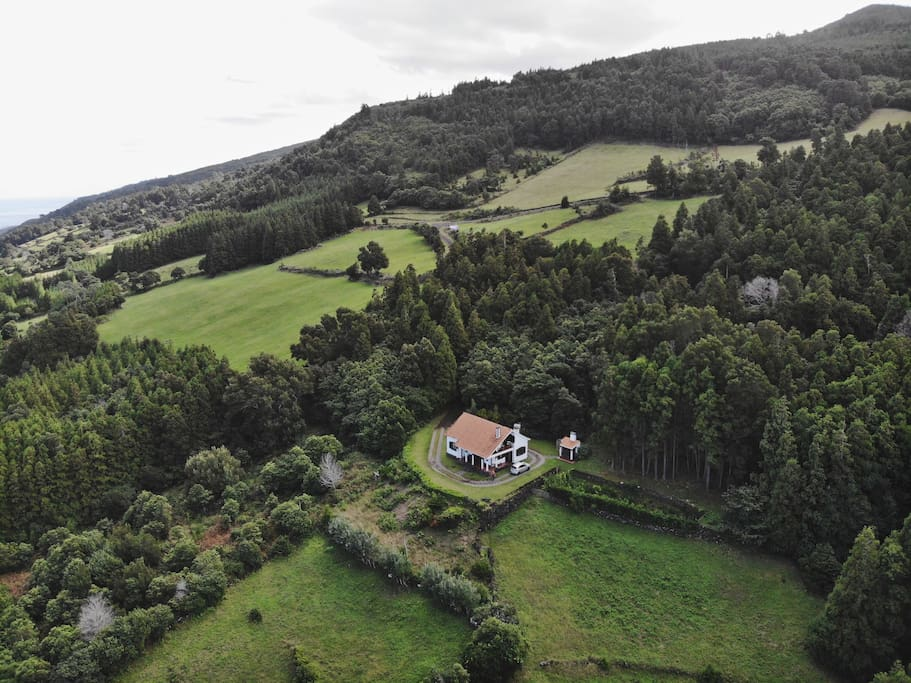 Aerial view of the house