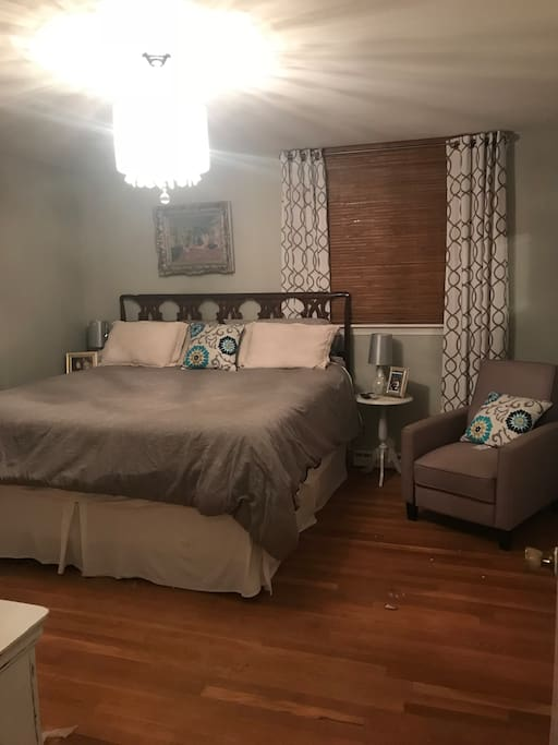 King size bed, recliner, large closet and private attached bath...