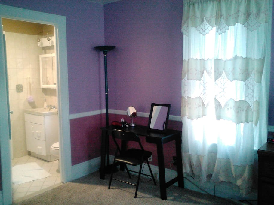 Bathroom and makeup table and hair dryer