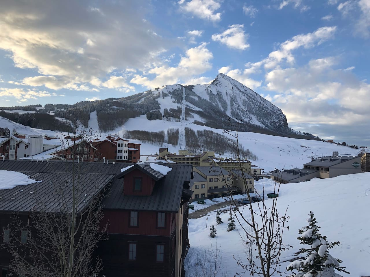 """Our Mountain Zen view from patio!Sit and enjoy this amazing location overlooking """"the Butte"""".  One of the best locations in Mt Crested Butte! Walk to ski slope!"""