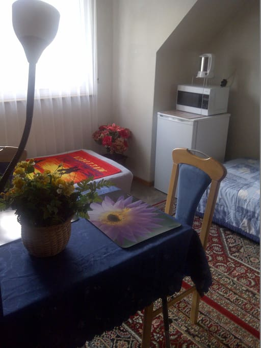 Nice room with refrigerator, microwave and kettle