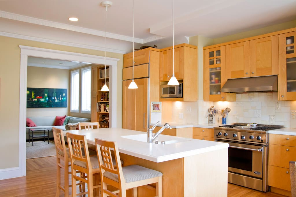 The kitchen has a pass through to the family room.