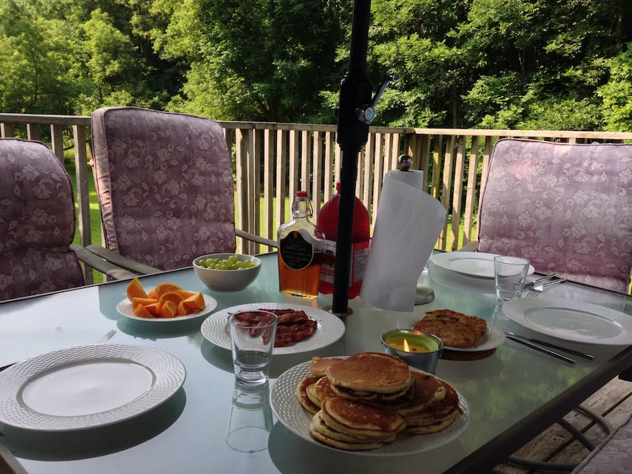 Breakfast on the deck.  Sorry, you'll have to make your own.