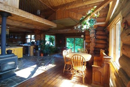 Wonderful log house on private lake with a spa