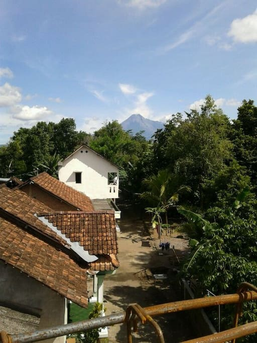 Mount Merapi view from the balcony