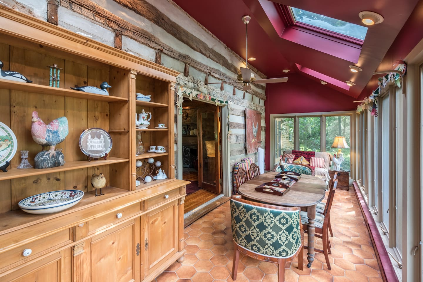 Country Sitting Room off of Main Log Cabin with Views of the 18 acre property