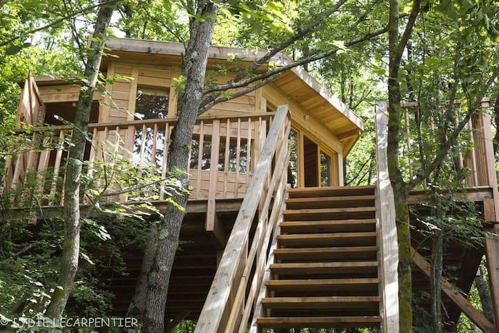 Belle Cabane dans les arbres-vue sur les Pyrénées