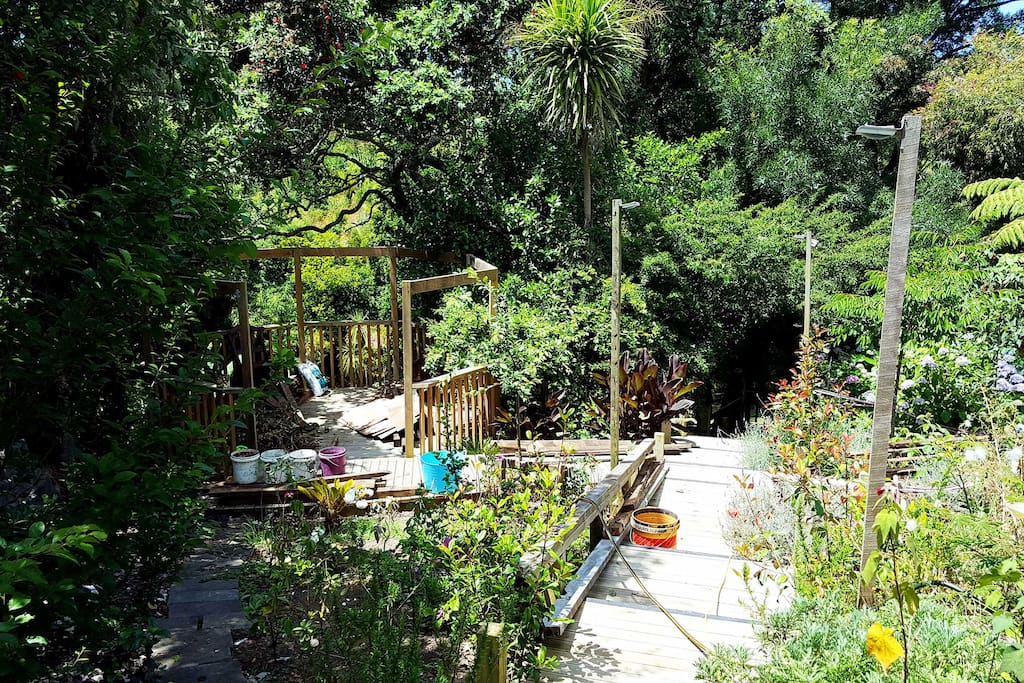 The fabulous backyard and garden of our home.  Here you are going down the terraces to the stream below.