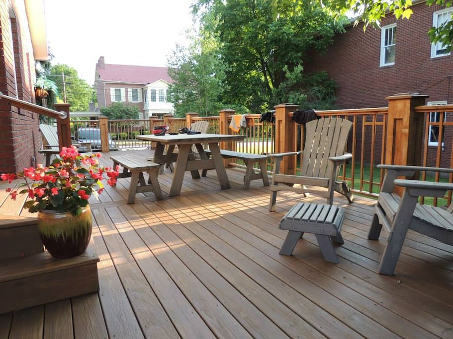 Large deck with gas grill is a perfect place to relax and visit in the late afternoon.