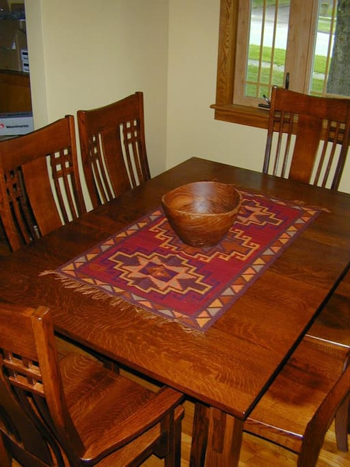 quarter sawn oak  dining room set custom-made by the local Amish.