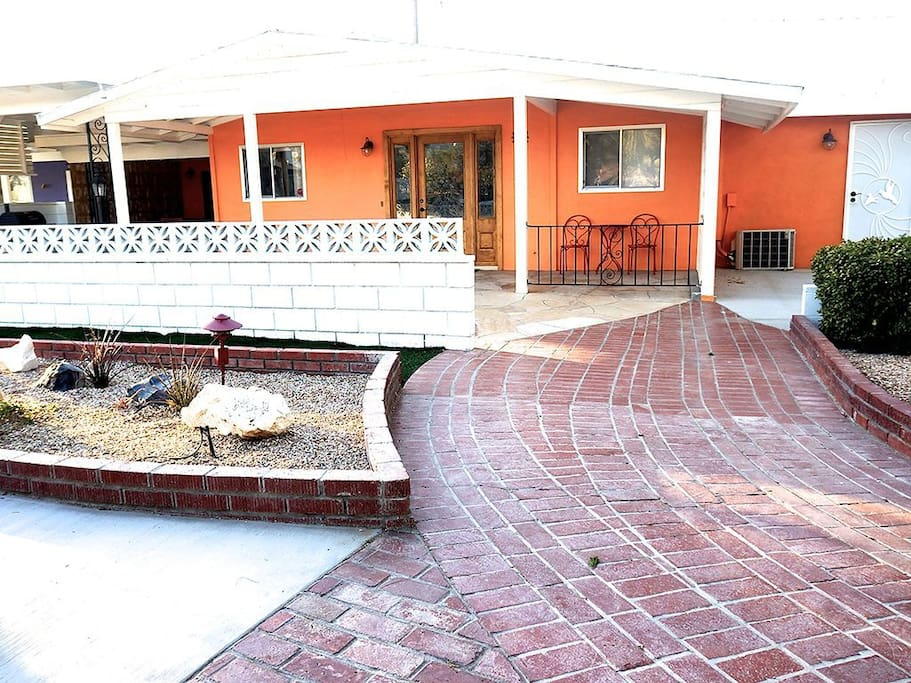 Just follow the red brick road the this historic Joshua Tree Estate