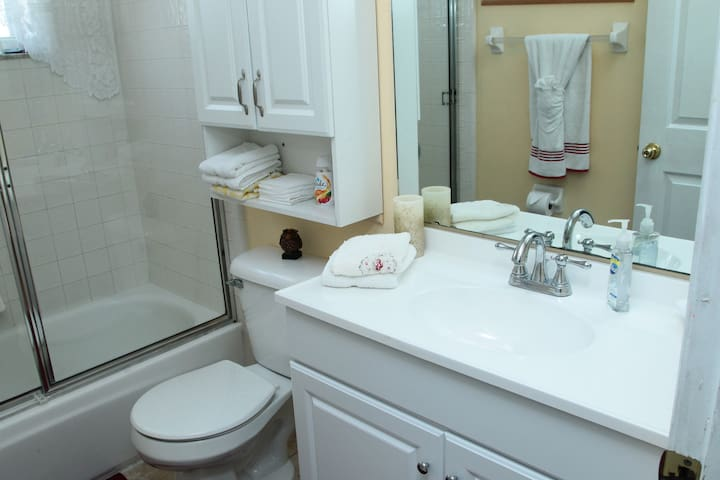 The restroom is clean to perfection, offers a shower