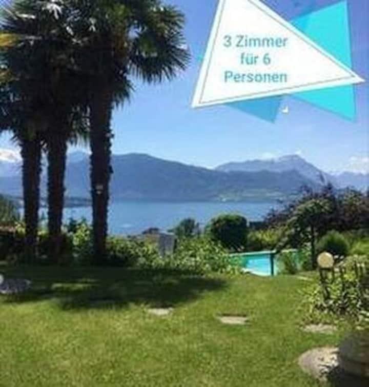 VarianteA 3Zi in Villa mit Pool und Traum-Aussicht