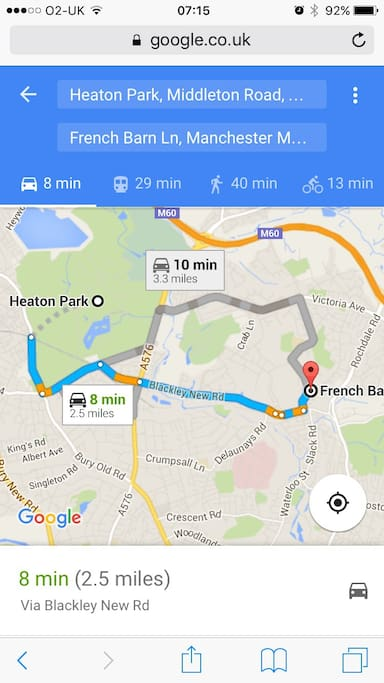 2.5 miles away to Heaton park, 8 mins by car.