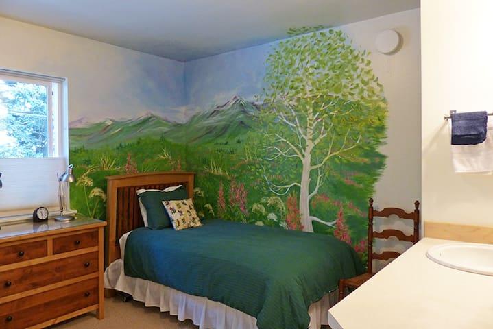 Each bedroom features a landscape mural painted by Kodiak High School Art Club