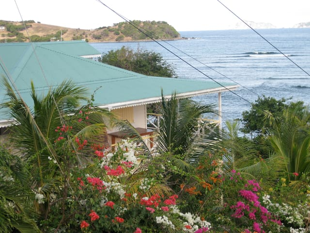 Side view with lovely flora situated right on the ocean
