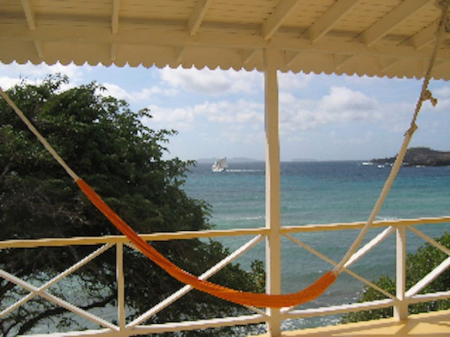 Peaceful veranda with constant, cooling trade winds