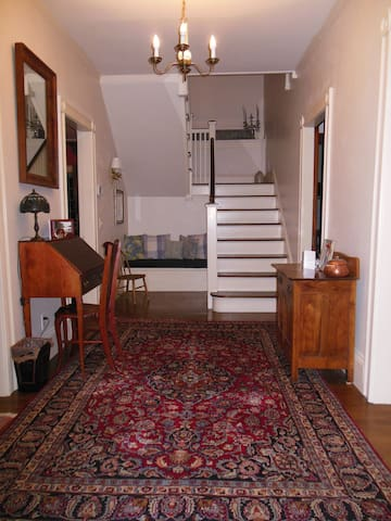 Elegant Foyer entry with central staircase
