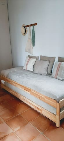 Bedroom with 4 stacked beds 2 x 2