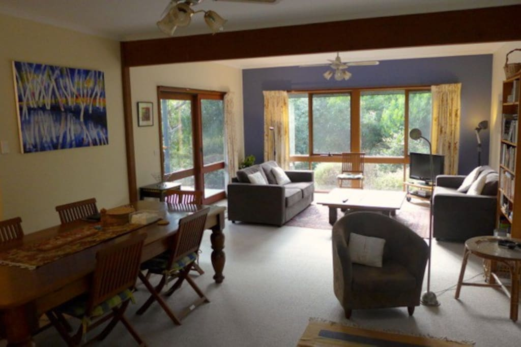 The spacious living and dining areas