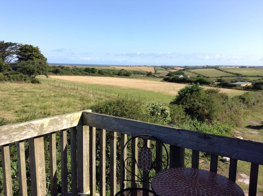View from deck area with far reaching sea views towards Newquay.