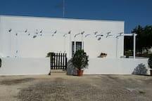 Il bianco calce della casa, tipica architettura mediterranea