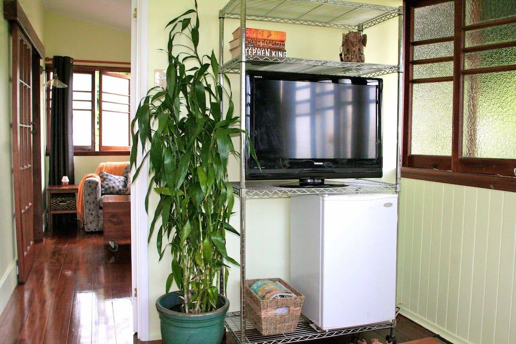 Lounge room with TV ,fridge