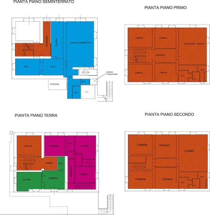 MAP: Orange 8/9 bedrooms 6/7 bathrooms Pink: 2 bedrooms 2 bathrooms Green: 1 bedroom 1 bathroom Blue: optional - extra payment