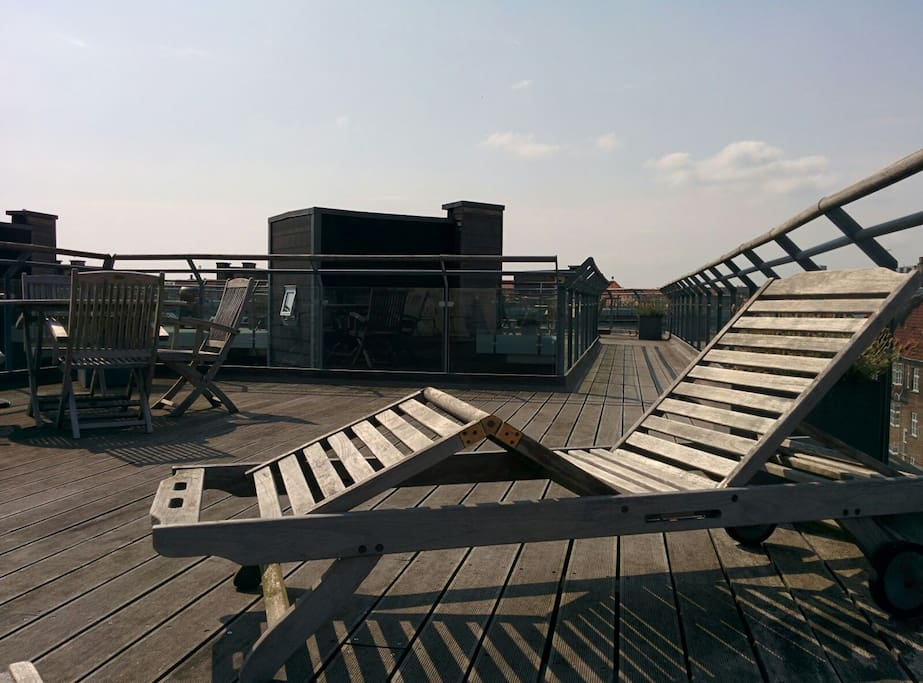 Rooftop terrace with BBQ, furniture and sunbeds.