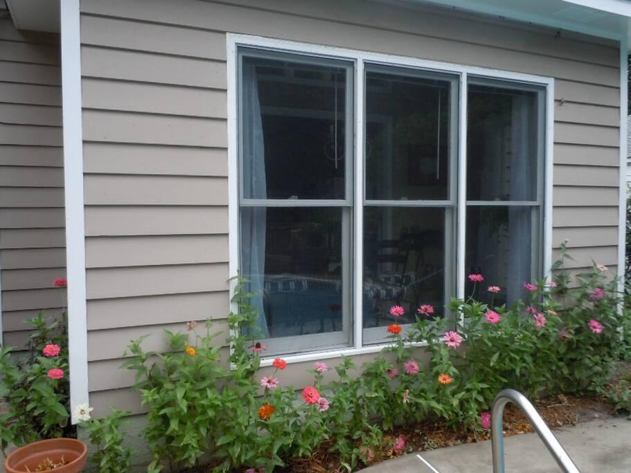 Windows of sunporch facing pool