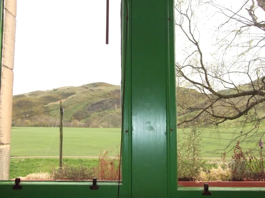 View from the living room- Arthur's Seat and Holyrood Park
