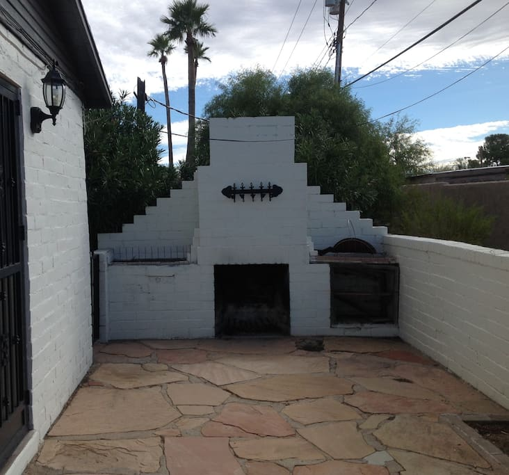 Side walled Patio, outdoor fireplace