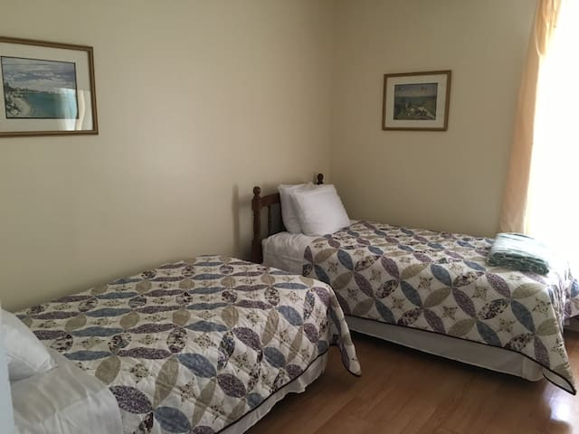 Matching twin beds are from the 1940s but the mattresses and box springs are from July 2016.