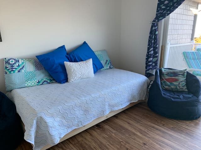 Bedroom 3 Stacking twin beds sleep 2. Bed can be joined to form a king size bed for couples.