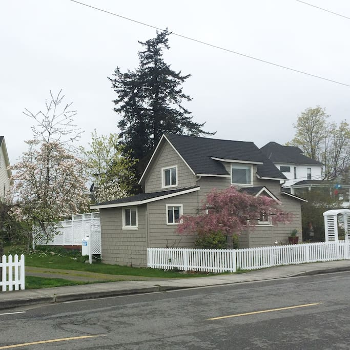 Side view of the property.  The driveway provides off-street parking for up to four cars.