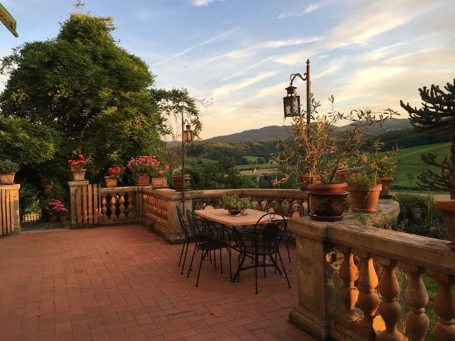 The Terrace with Amazing  Tuscan   view and the garden ( Breakfast included, dinner only on demand)