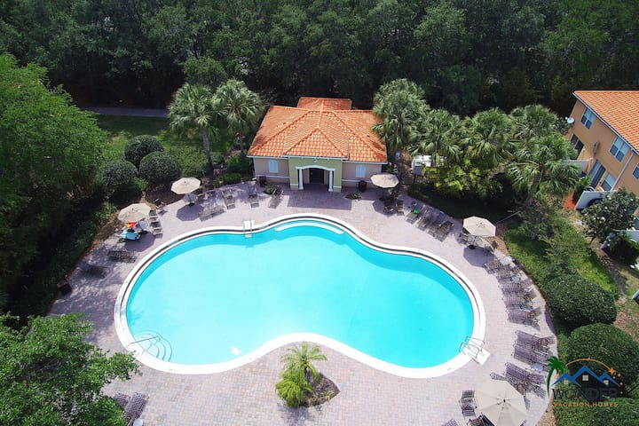 Compass Bay Resort Heated Pool DroneView