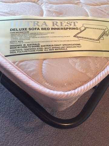 Ultra Rest Deluxe Sofa Bed Innerspring mattress for you comfort.