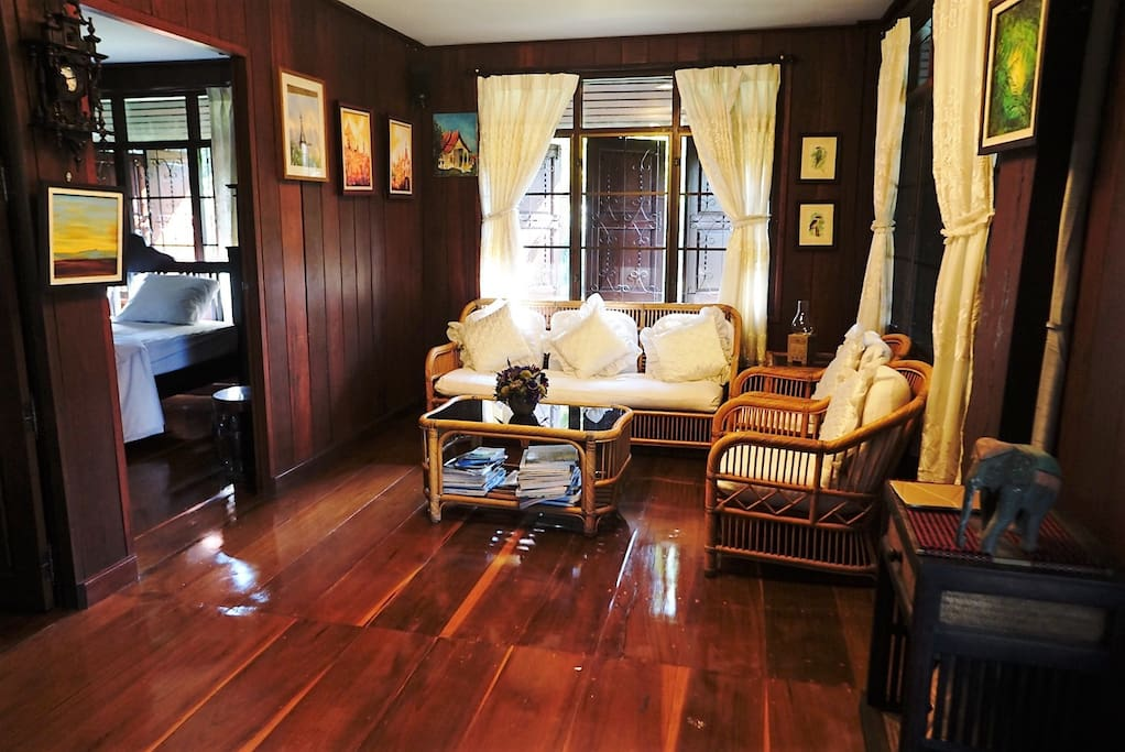 Authentic Lanna (Thai Northern) style living room