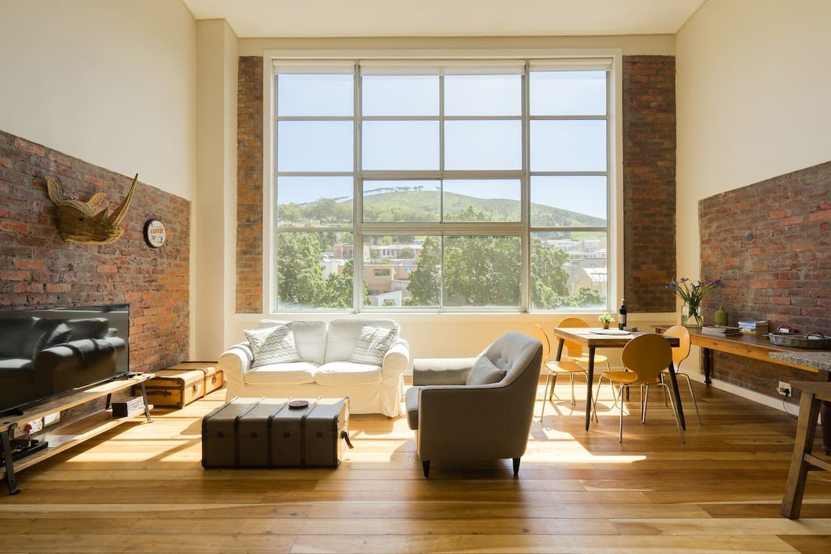 Stylish Industrial Loft with Mezzanine Bedroom.